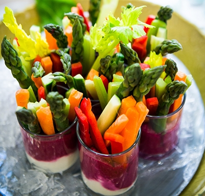 Vegetable cups on a platter at Aetna International's Health Matters Forum