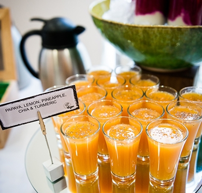 Tray of juice shots at Aetna International's Health Matters Forum