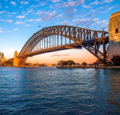Panoramic view of the iconic Sydney Harbor Bridge in Australia
