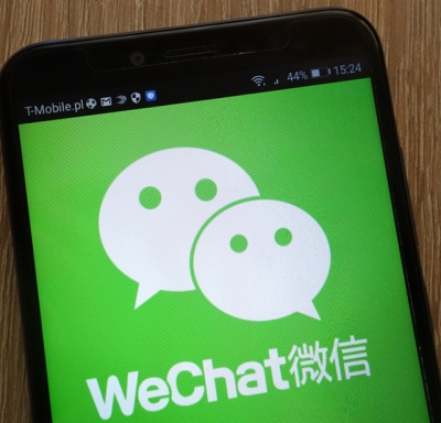 Smart phone showing logo of Chinese app WeChat