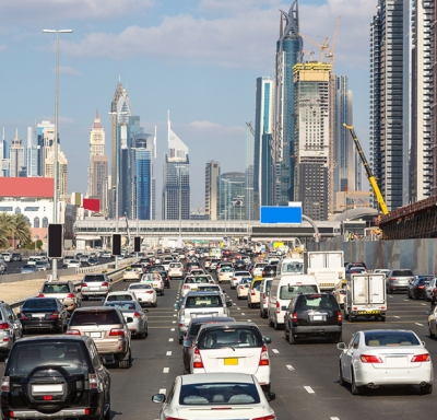 Heavy car traffic in downtown Dubai