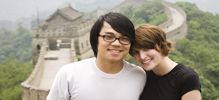 Mixed couple on Great Wall of China