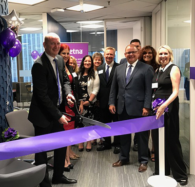 Aetna International team at the 2018 opening of an office in downtown Toronto, Ontario, Canada.