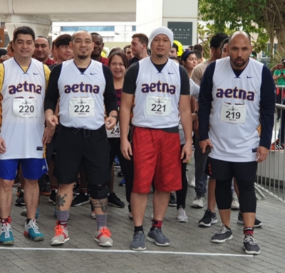 Aetna employees participated in the 5th annual vertical M1 Run race up 33 floors in Dubai.