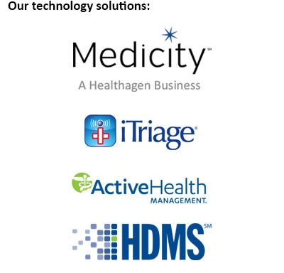 4 Proven Solutions Logos: Medicity, iTriage, ActiveHealth Management, HDMS