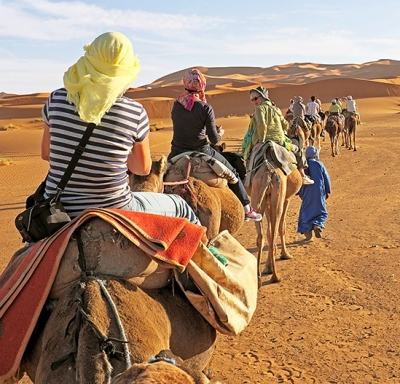 Expats on camels caravaning across desert