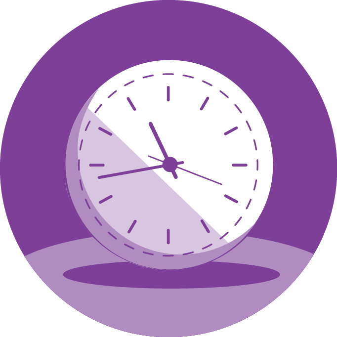 Aetna Violet Illustration With White Clock at Center