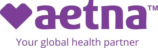 Aetna Violet Logo With Heart and Your Global Health Partner Tagline