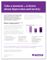 Take a moment to learn about depression and anxiety flyer
