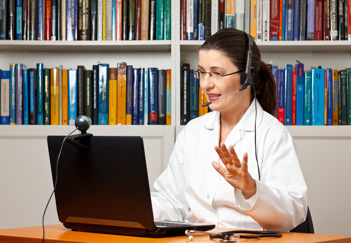 female doctor on virtual health video call